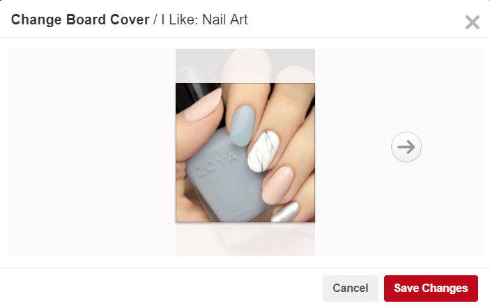 Select Pinterest board cover